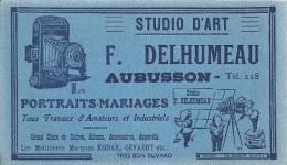"""23 AUBUSSON  - F ,DELHUMEAU Studio D'ART , BUVARD PUB """" ,  Superbe - Aubusson"""