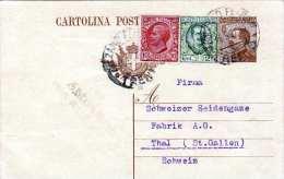ITALIEN 1927 - 40 C Ganzsache + 10+25 C Zusatzfrankierung Auf Firmen-R-Pk Gel.von Bolzano Nach Thal Schweiz ... - 1900-44 Victor Emmanuel III.