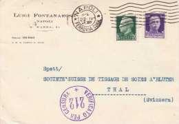 ITALIEN 1941 - 25+50 C Frankierung Auf Firmen-Pk Mit Zensurstempel Gel.von Napoli Nach Thal Schweiz - Ganzsachen