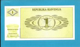 SLOVENIA - 1 TOLAR - 1990 - Pick 1 -  UNC. - Prefix AA - Republika Slovenija - 2 Scans - Slovénie