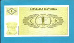 SLOVENIA - 1 TOLAR - 1990 - Pick 1 -  UNC. - Prefix AB - Republika Slovenija - 2 Scans - Slovénie