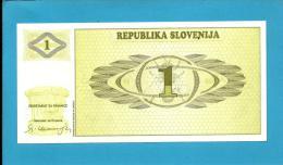 SLOVENIA - 1 TOLAR - 1990 - Pick 1 -  UNC. - Prefix AP - Republika Slovenija - 2 Scans - Slovénie