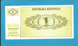 SLOVENIA - 1 TOLAR - 1990 - Pick 1 -  UNC. - Prefix AT - Republika Slovenija - 2 Scans - Slovénie