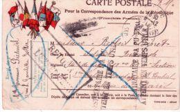 WWI - C P FM Voyagée Avec Drapeaux  -  éditeur J C Paris S P 15 Groupe De Brancardiers Marocains - Marcophilie (Lettres)