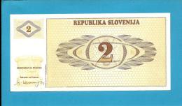 SLOVENIA - 2 TOLARJEV - 1990 - Pick 2 -  UNC. - Prefix AI - Republika Slovenija - 2 Scans - Slovénie