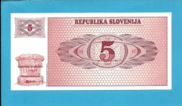 SLOVENIA - 5 TOLARJEV - 1990 - Pick 3 -  UNC. - Prefix AE - Republika Slovenija - 2 Scans - Slovénie