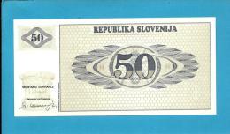 SLOVENIA - 50 TOLARJEV - 1990 - Pick 5 -  UNC. - Prefix AB - Republika Slovenija - 2 Scans - Slovénie