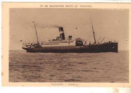 "Cpa Bateau Nef  Navire Identifié "" S S Djemila "" Cie Navigation Mixte Cie Touache Algérie Maghreb 1909 Greenock - Commerce"