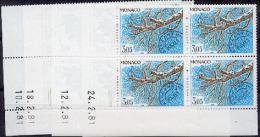 Monaco Préoblitérés   70  73 Le Marronier Bloc De 4 Coin Daté 2 81 Neuf ** TB MNH SIN CHARNELA Cote 27.5 - Monaco