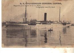 """Cpa Tsf à Bord  """" Gouverneur Général Lépine  """" 1922 Cie Navigation Mixte Cie Touache Algérie Paul Bousquet Bateau école - Paquebote"""