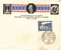 Ponts - Exposition Philatélique - Yougoslavie - Document De 1940 ° - Oblit Zagreb - Valeur 17 € - Presse Gutenberg - 1931-1941 Kingdom Of Yugoslavia