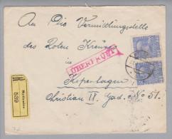 Heimat Polen Myslenice 1918-01-27 Zensurbrief An Dänisch. Rotes Kreuz - Covers & Documents