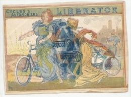 Ancienne Publicité Cycles &automobiles  Liberator Avec Cachet Au Dos - Transport