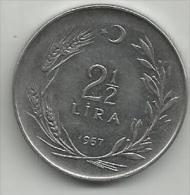Turkey 2 1/2 Lira 1967. - Turquia