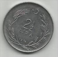 Turkey 2 1/2 Lira 1974. - Turquia