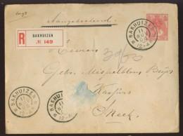 DV6-39a NETHERLANDS 1908 PRE STAMPED LETTER 5c. SHIPPED REGISTERED ROM BAKHUIZEN TO SNEEK. GROOTROND BAKHUIZEN, SNEEK. - Brieven En Documenten