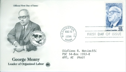 United States 1994 George Meany FDC - Lot USA99 - Ersttagsbelege (FDC)