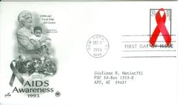United States 1993 AIDS Awareness FDC - Lot USA932 - Ersttagsbelege (FDC)