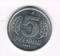 ***  D.D.R. 5 PFENNIG  1983 A - [ 6] 1949-1990: DDR - Duitse Dem. Rep.