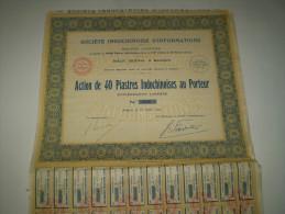 Action De 40 Piastres Indochinoises De La Société Indochinoise D'Informations  ; Saïgon 1927 - Cinéma & Théatre
