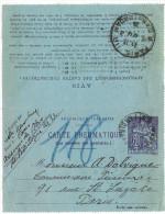 LBON10- CL PNEUMATIQUE CHAPLAIN 60c  VIOLET PARIS ST FERDINAND - Entiers Postaux