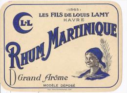 étiquette RHUM MARTINIQUE Grand Arome LES FILS DE LOUIS LAMY 1865 LE HAVRE 76  /  Illustration Martiniquaise - Rhum