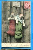 Madd308, 2 Bébés Suspendus Dans Des Sacs, Jacqueline Et Jacques, Précurseur, Circulée 1904 - Baby's