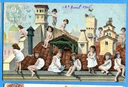 Madd309, Fantaisie, Bébés Sur Le Toit D'une Maison, Chat, Petite Fille, Girouette,coq, Circulée 1906 - Neonati