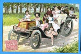 Madd310, Fantaisie, Bébés Dans Une Vieille Voiture, Circulée 1906 - Neonati