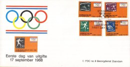 Nederland - FDC - 17 September 1988 - Stadspost Zaandam - Olympiade 1928 - 1988 - Ongebruikt - Marcofilie - EMA (Print Machine)
