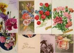Prénom Catherine - Lot 10 Cartes Fantaisies Fleur - Prénoms
