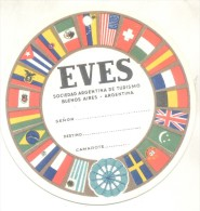 EVES SOCIEDAD ARGENTINA DE TURISMO - ETIQUETA PARA VALIJAS PARA VIAJES EN BARCO EN CAMAROTE CIRCA 1950 TBE RARE