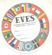 EVES SOCIEDAD ARGENTINA DE TURISMO - ETIQUETA PARA VALIJAS PARA VIAJES EN BARCO EN CAMAROTE CIRCA 1950 TBE RARE - Titres De Transport