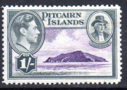 Pitcairn Island 1940 GVI 1/- Fletcher Christian, Hinged Mint - Stamps