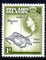 Pitcairn Island 1957 QEII 1d Island Map Definitive, Hinged Mint - Stamps