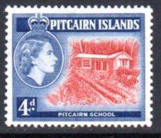 Pitcairn Island 1957 QEII 4d Pitcairn School Definitive, Hinged Mint - Stamps