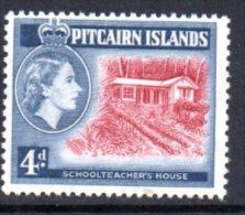 Pitcairn Island 1957 QEII 4d Schoolteacher's House Definitive, Hinged Mint - Stamps