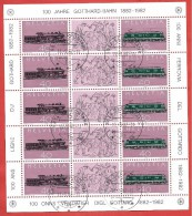 SVIZZERA USATO FDC - 1982 - 100 Anni Gottardo - Gotthard - MINIFOGLIO  - Michel CH 1214-1215 -  ANN. SERFONTANA - Blocchi & Foglietti