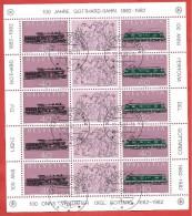 SVIZZERA USATO FDC - 1982 - 100 Anni Gottardo - Gotthard - MINIFOGLIO  - Michel CH 1214-1215 -  ANN. SERFONTANA - Blocs & Feuillets
