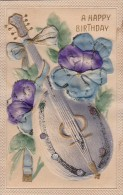 Happy Birthday With Mandolin And Flowers 1915 - Birthday