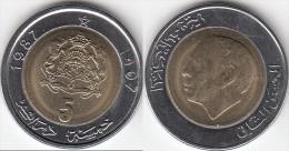 MAROCCO 5 Dirhams 1987 KM#y82 - Used - Marocco