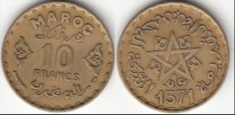 MAROCCO 10 Francs 1951 Mohammed V KM#y49 - Used - Marocco