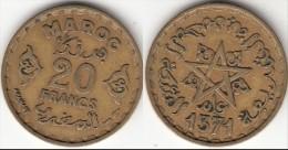 MAROCCO 20 Francs 1951 Mohammed V KM#y50 - Used - Marruecos