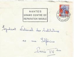 FLAMME DE NANTES - REPARTION NAVALE - 1960 - Oblitérations Mécaniques (flammes)