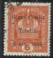 TRENTINO ALTO ADIGE 1918 SOPRASTAMPATO SURCHARGED 6 H USATO USED OBLITERE´ - 8. Occupazione 1a Guerra