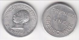 **** JETON PRIME - MONNAIE DE NECESSITE - 2 UNITES PARIS 1910-1925 -PRENEZ UNE CRESSONNEE **** ACHAT IMMEDIAT - Monetari / Di Necessità