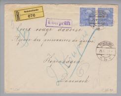 Heimat Tschechien Schönlinde Krasma Lipa 1915-04-25 R-Zensur-Brief Dänisch.Rotkreuz - 1850-1918 Imperium