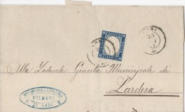 005 - 25 Febbraio 1863 - Involucro Da Lodi A Lardera , Affrancato Con Cent 20 Indaco ... Leggi.. - Storia Postale