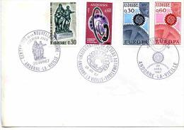 MARCOPHILIE-ANDORRE-enveloppe Timbres N°181 Danseurs+182-inaug Réseau Télé + Europa 1966-- -3 Cachets  Différents - Lettres & Documents