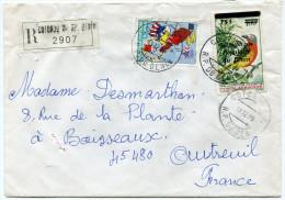 BENIN LETTRE RECOMMANDEE DEPART COTONOU R.P. 19-12-85 R.P. DU BENIN POUR LA FRANCE - Bénin – Dahomey (1960-...)